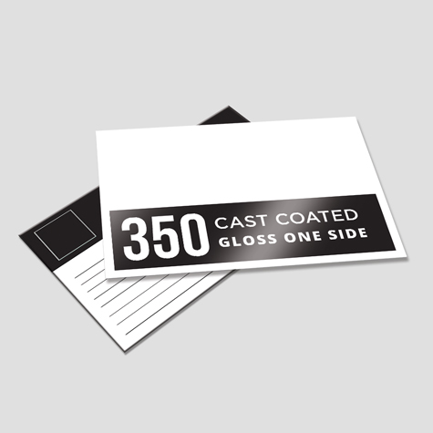 350gsm Cast Coated Artboard Gloss One Side Postcards