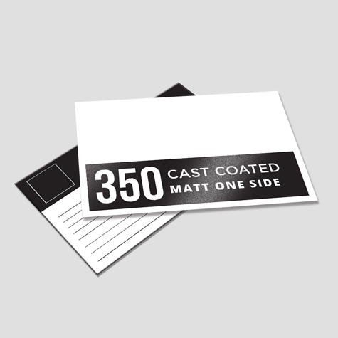 350gsm Cast Coated Artboard Matt One Side Postcards