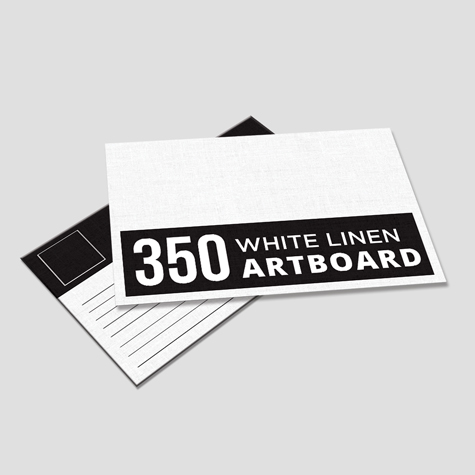350gsm White Linen Textured Postcards