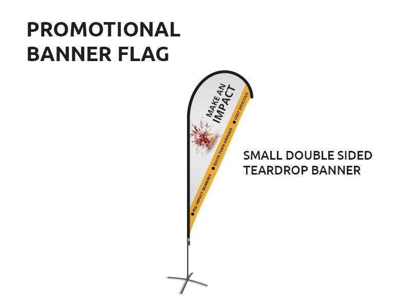 Promotional Small Double-Sided Teardrop Flag Banner Sunshine Coast