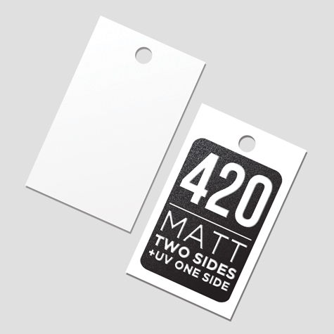 Swing Tags 420gsm Matt Cello Two Sides + Spot UV 1 Side