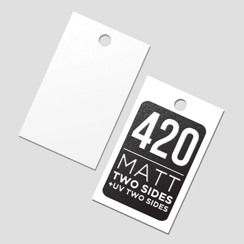 Swing Tags 420gsm Matt  Cello Two Sides + Spot UV Two Sides