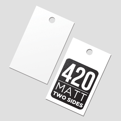 Swingtags  420gsm Matt cello Two Sides