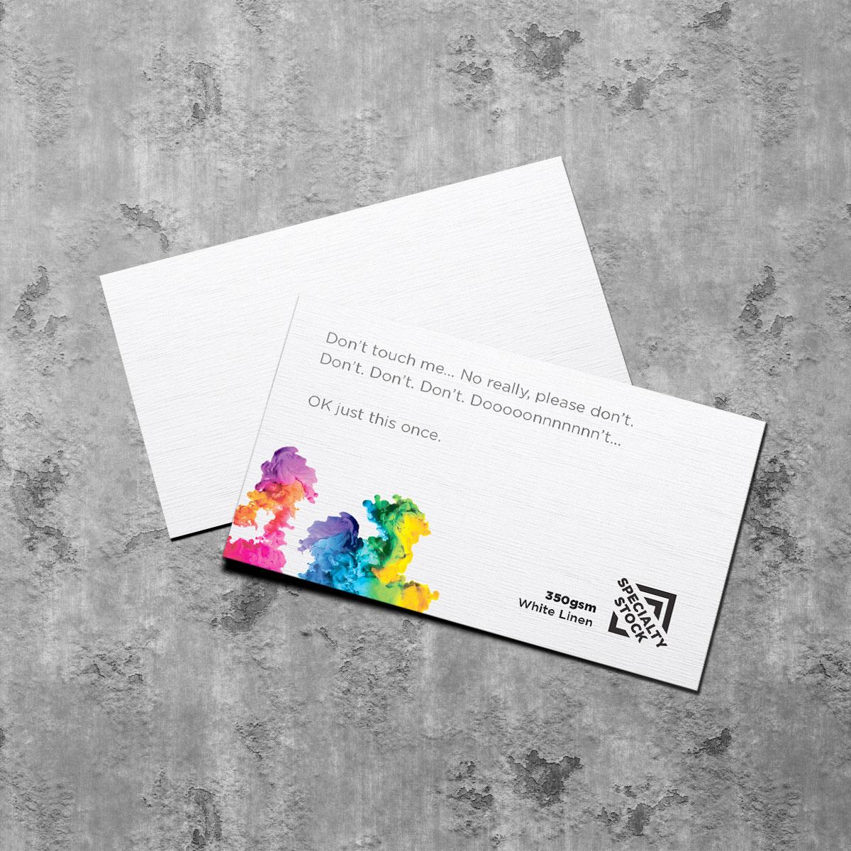 350gsm linen textured white business card