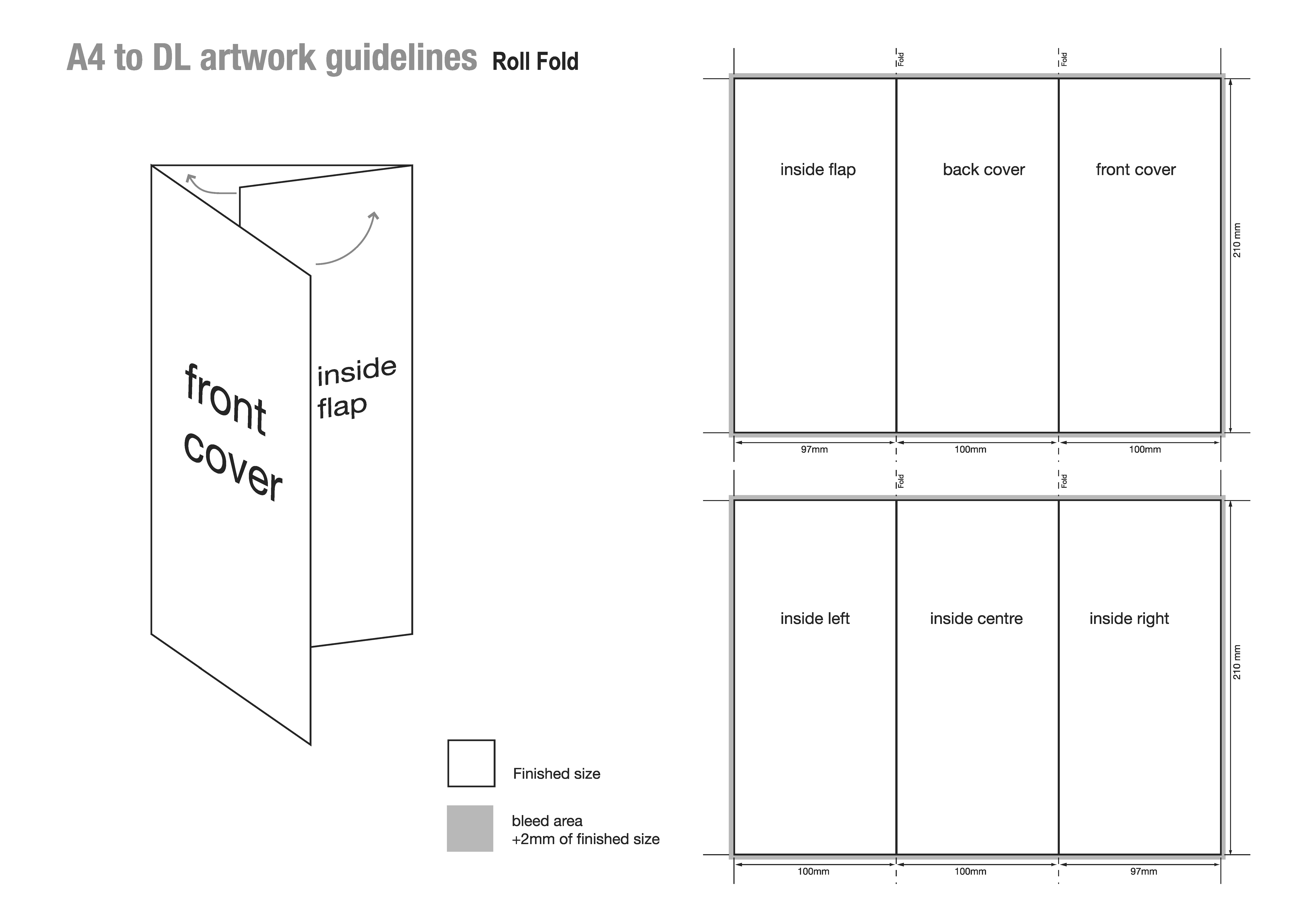 A4 to DL roll fold panel sizes