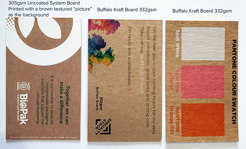 Buffalo Kraft vs 305gsm Systems Board