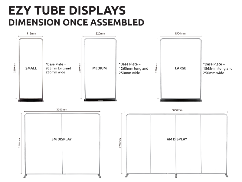 Fabric Portable Displays Sizes