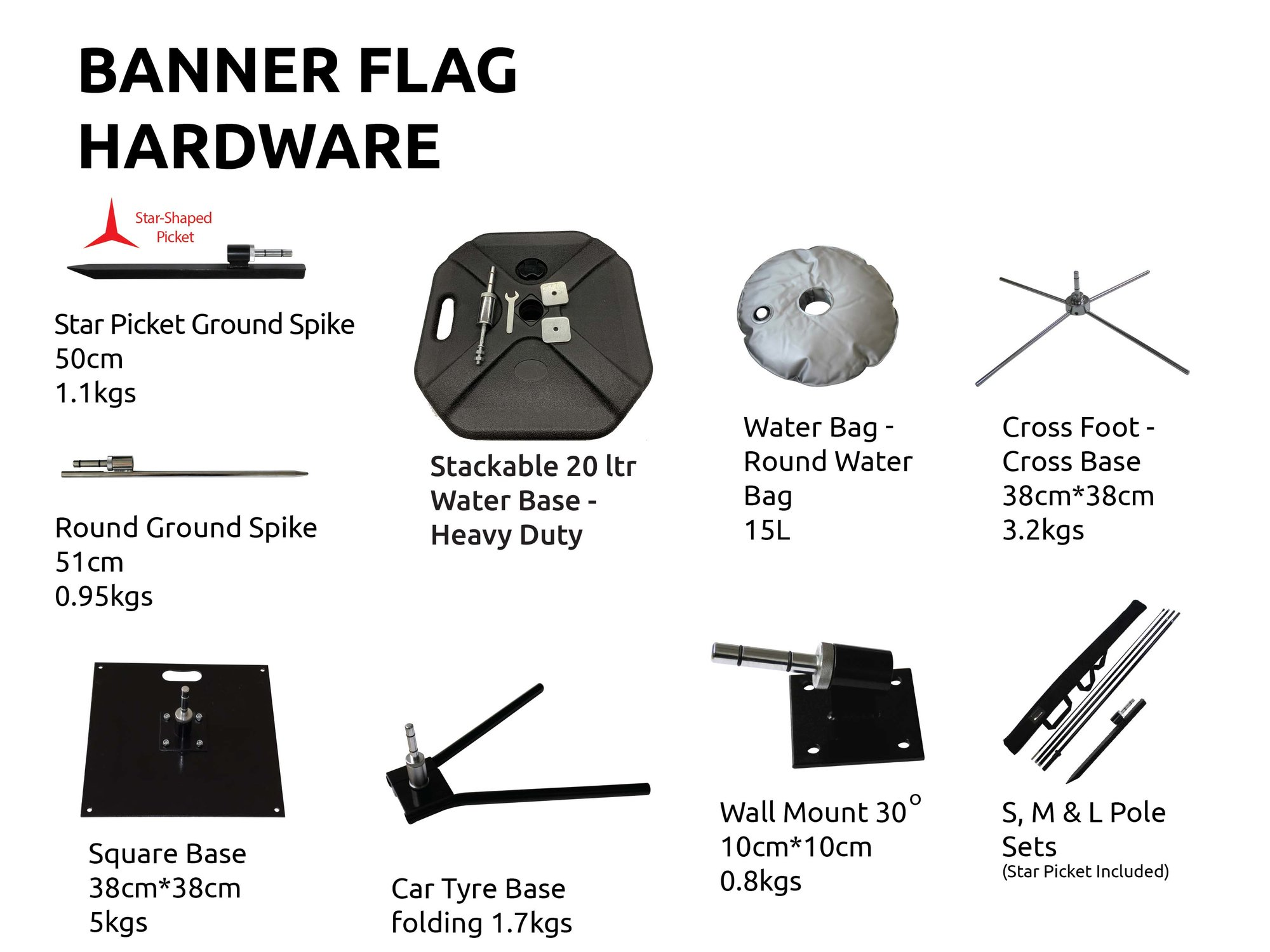 Flag Banners replacement poles and bases