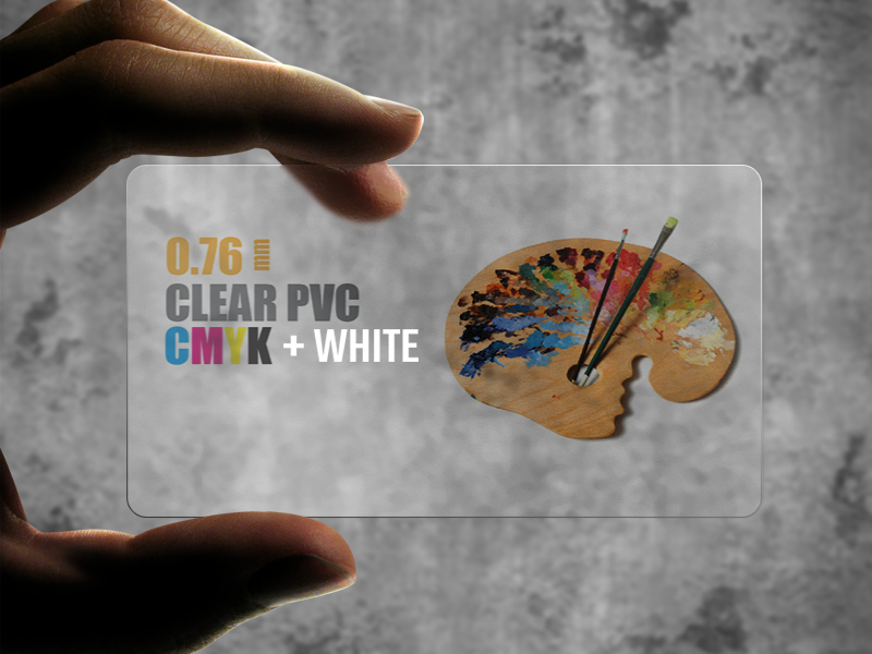 Clear Plastic Business Cards with free spot white