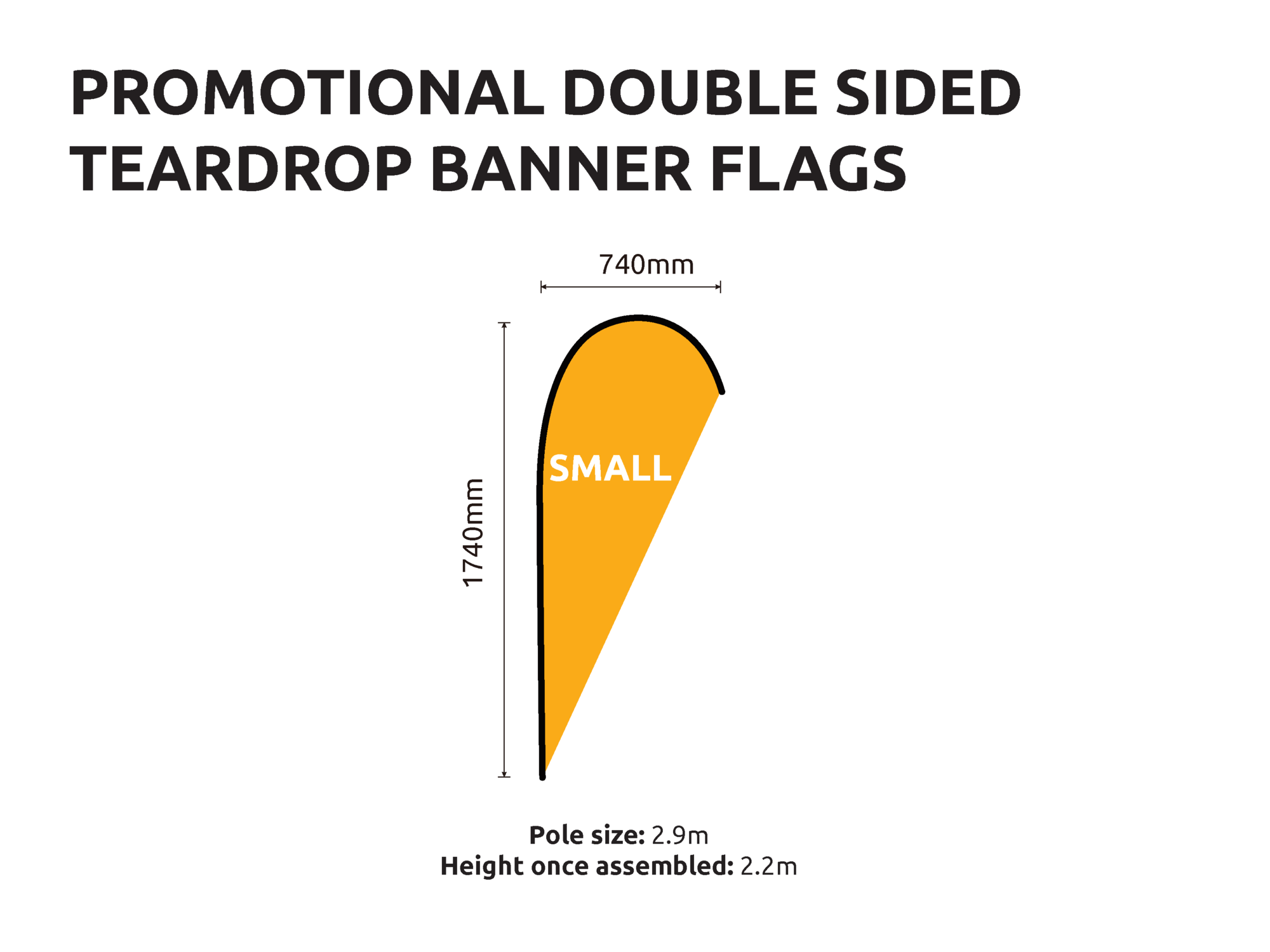 Promotional Banner Flags small double sided teardrop size