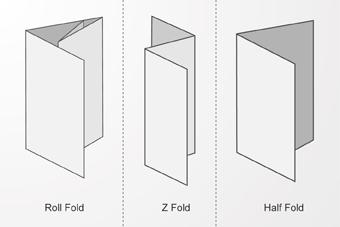 Roll fold, Z Fold and Half Fold