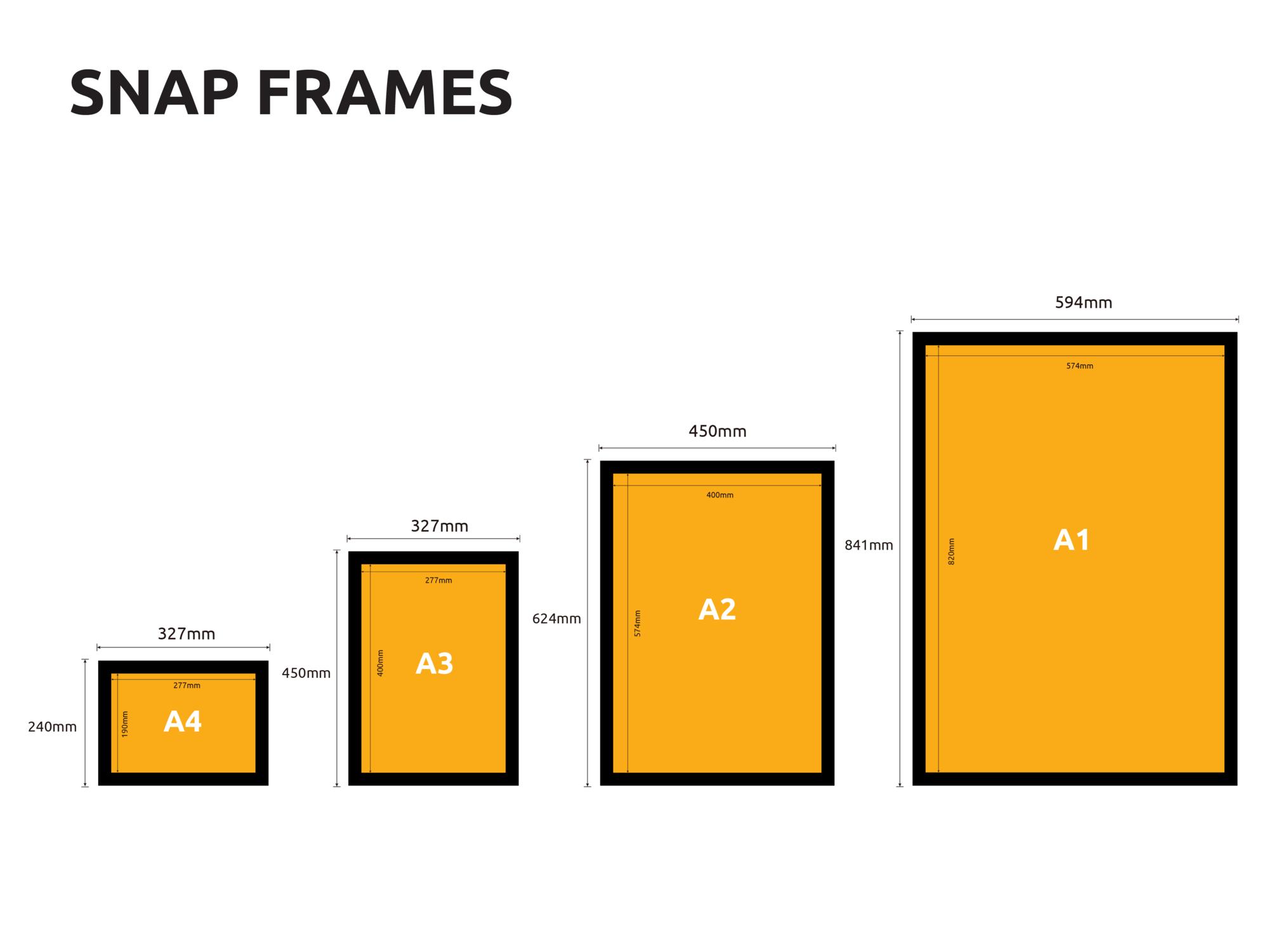 Snap Picture frames Sunshine Coast Sizes