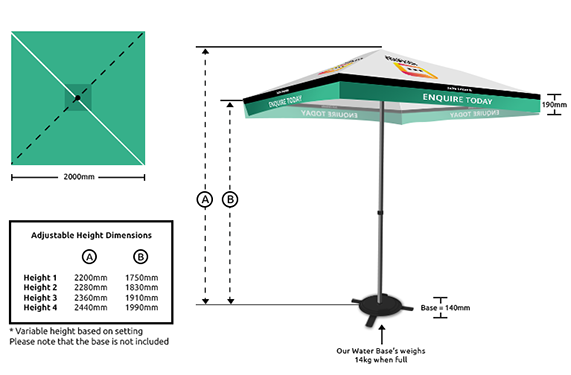 printed market umbrellas sunshine coast dimensions